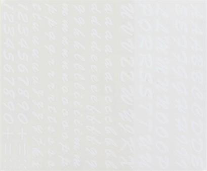 Aufkleber Buchstabenset (Brush Scribt), weiss