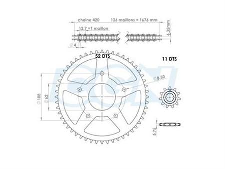 Kettenkit 11 x 52 / 420 ohne O-Ring (K1376) Stahl Rieju MRT