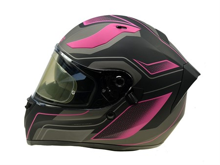 Helm S-Line S441, schwarz matt/pink Doppelvisier (Grösse S)