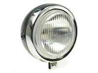Lampe rund chrom/schwarz, 13cm ohne Schalter, Sachs/Puch ect.