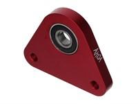 Dreieck-Lagerplatte swiing, Lagerflansch aluminium gefräst, Piaggio Ciao/SI/Bravo, rot eloxiert