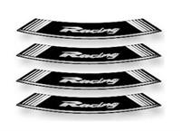 Felgen-Aufkleber-Set Racing weiss-schwarz 8 Stk.