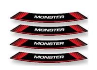 Felgen-Aufkleber-Set Monster rot-schwarz 8 Stk.