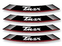 Felgen-Aufkleber-Set T-MAX weiss-rot-schwarz (8 Stück)
