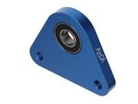 Dreieck-Lagerplatte, Lagerflansch aluminium gefräst, Piaggio Ciao/SI/Bravo, blau eloxiert
