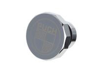 Tankdeckel Puch Maxi eckig Alu Chrom, mit Puch Logo