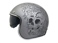 Jethelm Le Mans Skull & Roses grau, Grösse M