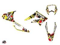 Kit déco stickers Freegun Freegunman jaune/rouge, moto 50cc Derbi DRD X-trem 2010 à 2017