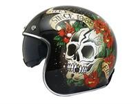Jethelm Le Mans Skull & Roses schwarz, Grösse XS