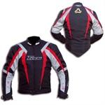 Motorradjacke schwarz/rot/silber, grösse S