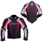 Motorradjacke schwarz/rot/silber, grösse M