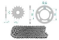 Kettenkit 12 x 47 / 420 ohne O-Ring (K1359) Stahl