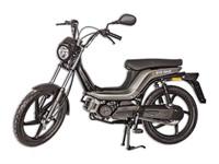 Bye Bike Retro Mofa, grau-schwarz, lange Sitzbank