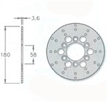 Bremsscheibe IGM, vorne/hinten, 180/58/3,6mm