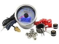 Drehzahl / Temperaturmesser KOSO GP Style II, Ø 55mm, (max 9000 rpm / 150°c), Display weiss, blau beleuchtet
