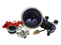 Drehzahlmesser KOSO Eclipse Style, RPM / TEMP, 0-9000 U/min, Durchmesser 55mm, blau beleuchtet