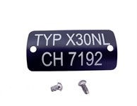 Typenschild Puch X30 NL CH7192 . Montierbereit inkl. Hammerschrauben.