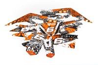 Sitckerset / Dekor Kit Verkleidung Stage6 Derbi 50 DRD X-Treme Euro 4 orange - weiss
