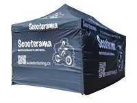 Faltzelt Scooterama 3x6 m, verstellbare Höhe, mit 4 Seitenwänden